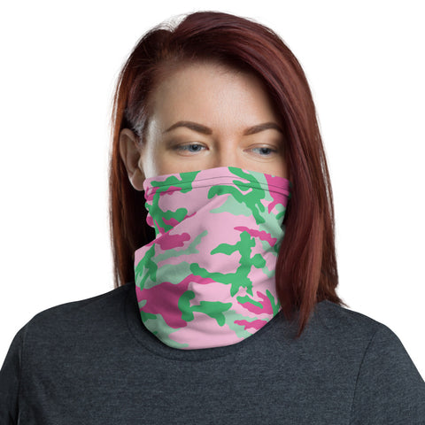 Pink and Green Camo Neck Gaiter - For Grown Folks Only Merch