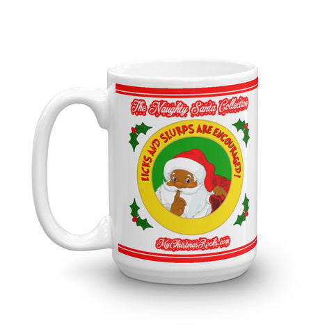 Licks and Slurps Naughty Black Santa Mug