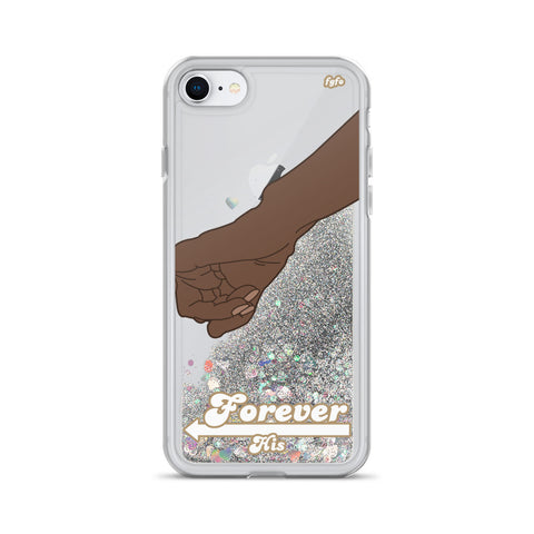 Brown Skin Couple Forever His: iPhone 7/8/X/XS/XR Clear Liquid Glitter Case