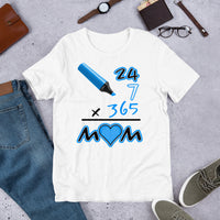 Everyday Mom (White/Blue) Graphic T-Shirt