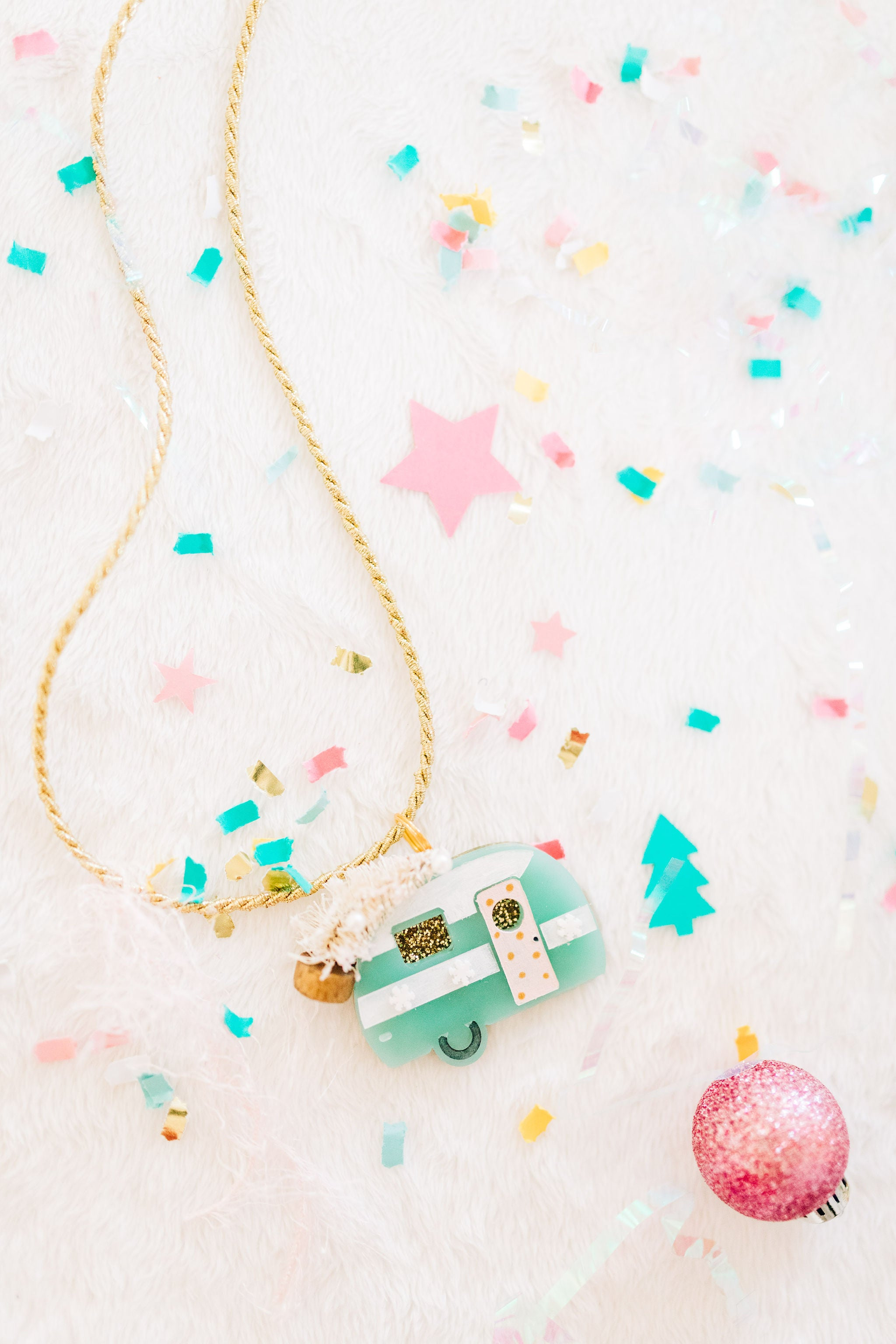 Christmas camper necklace