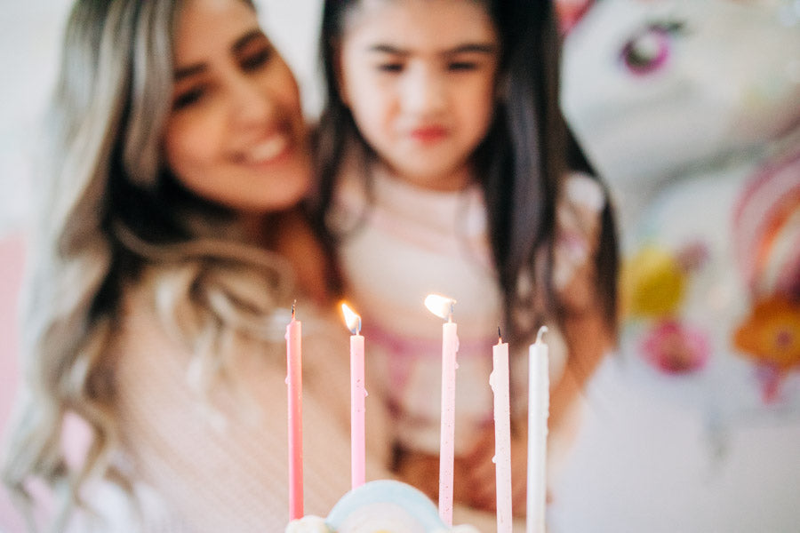 unicorn birthday party ombre candles