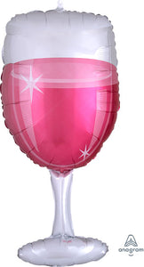 "31"" Rose Glass Wine Balloon"
