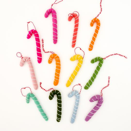 Felt Candy Cane Ornament Set