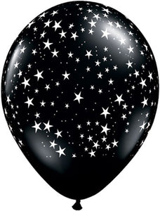 "11"" STARS BLACK AND WHITE BALLOON"