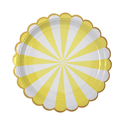 Yellow Fan Stripe Large Plates