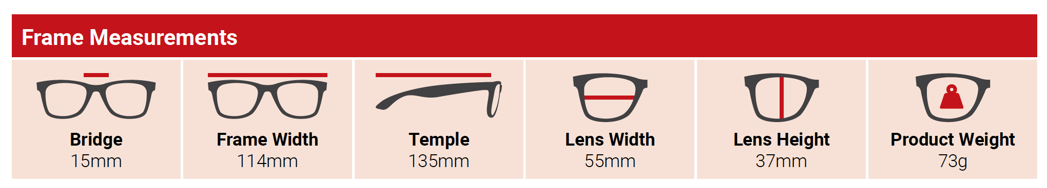 Frame measurements for lead glasses