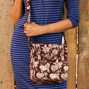 Kalamkari Brown Sling Bag