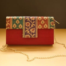 Load image into Gallery viewer, Maroon Silk Statement Clutches Chanchal fashion sustainable fashion brands in Bangalore