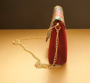 Maroon Silk Statement Clutches Chanchal fashion sustainable fashion brands in Bangalore