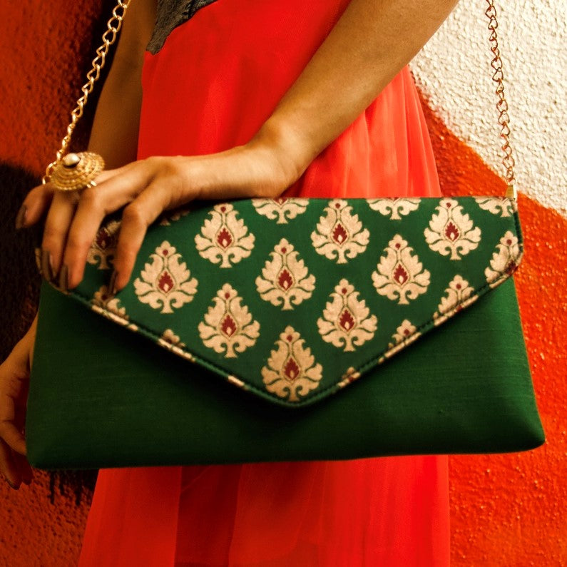 Green Silk Brocade Clutch Party wear Chanchal sustainable fashion brands in bangalore