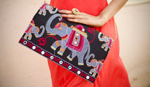 Load image into Gallery viewer, Statement Clutches Chanchal Black hathi Rajasthan fashion sustainable fashion brands in Bangalore