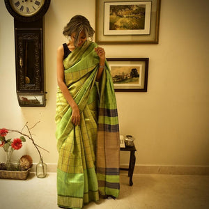 Online shopping Silk Bhagalpuri Saree Green Check Chanchal Handmade handwoven slow fashion style Indian designer Chanchal textile