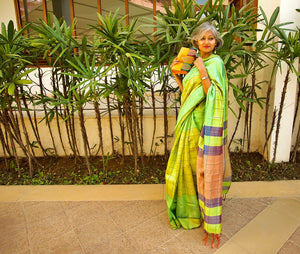 Online shopping Silk Tassar Tussar Saree Green Check Chanchal Handmade handwoven slow fashion ethnic Indian designer Chanchal textile