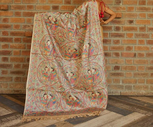 Madhubani Saree Tussar Silk Bihar Bhagalpur Raw SIlk Natural Brown Handpainted Indian Chanchal Online Fashion Store