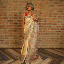 Load image into Gallery viewer, Madhubani Saree Tussar Silk Bihar Bhagalpur Raw SIlk Natural Brown Handpainted Indian Chanchal Online Fashion Store
