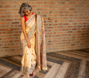 Light Beige Brown Tussar Silk Saree