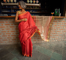 Load image into Gallery viewer, Red Gold Tussar Silk Saree