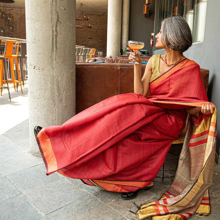 Red Gold Tussar Silk Saree