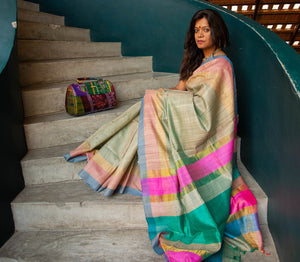 Natural Tussar with Multicolor SIlk Saree