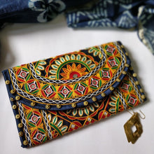 Load image into Gallery viewer, Navy Blue Embroidery Clutch Chanchal