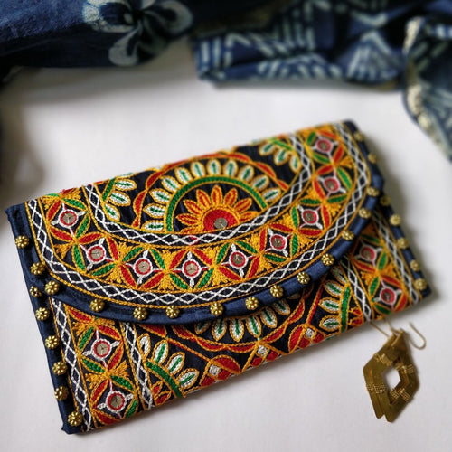 Navy Blue Embroidery Clutch Chanchal