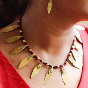 Dokra Leaf Shaped Neckpiece Set
