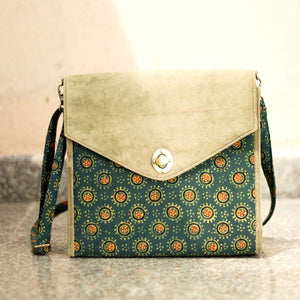 Ajrakh Green Suede Bag