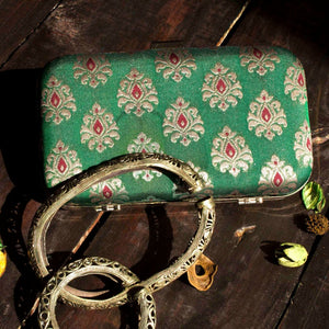 Green Silk Rectangular Clutch