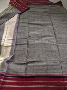 Cotton Handloom saree grey pink Karnataka handwoven revival NGO Made In India Chanchal Summer Wear