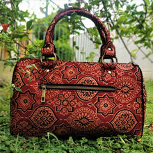 Load image into Gallery viewer, Chanchal Ajrakh Silk Duffle Bag Handpurse Handcrafted India Textiles Blockprint