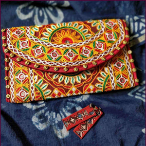 Maroon Embroidery Clutch