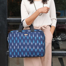 Load image into Gallery viewer, Navy Blue Ikat Laptop Bag