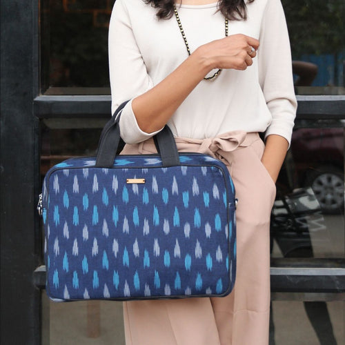 Navy Blue Ikat Laptop Bag