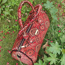 Load image into Gallery viewer, Chanchal Ajrakh Silk Duffel Bag Handpurse Handcrafted India Textiles Blockprint