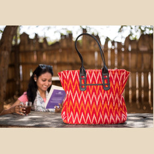Ikat Red Tote Bag