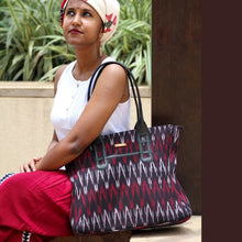 Load image into Gallery viewer, Ikat Red Black Tote Bag