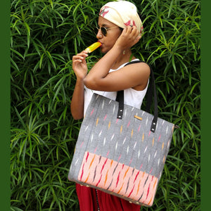 Ikat Grey Bucket Tote Bag