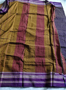 Aubergine Mustard Hubli Cotton Saree