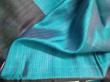 Load image into Gallery viewer, Blue Black Tussar Silk Saree