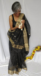 Black Chanderi Silk Cotton Saree with Golden Silver Zari