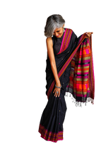 Load image into Gallery viewer, Black Dongria Cotton Saree