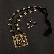 Load image into Gallery viewer, Black Golden Antique Dokra Neckpiece Made in India Chanchal fashion jewelry Statement necklace Party Durga Puja Pendant Diwali Gift