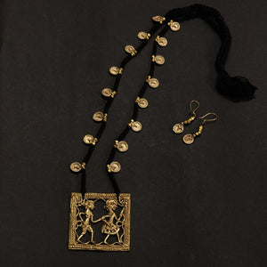 Black Golden Antique Dokra Neckpiece Made in India Chanchal fashion jewelry Statement necklace Party Durga Puja Pendant