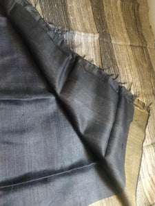 Black golder tussar silk saree chanchal handloom bhagalpuri ghicha India sari ethnic wear rakhi gift