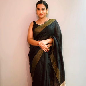 Black and Golden Tussar Silk Saree