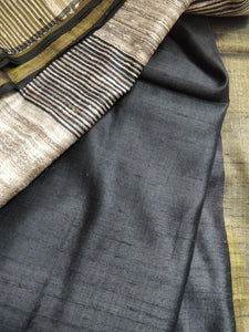 Black golder tussar silk saree chanchal handloom bhagalpuri ghicha India