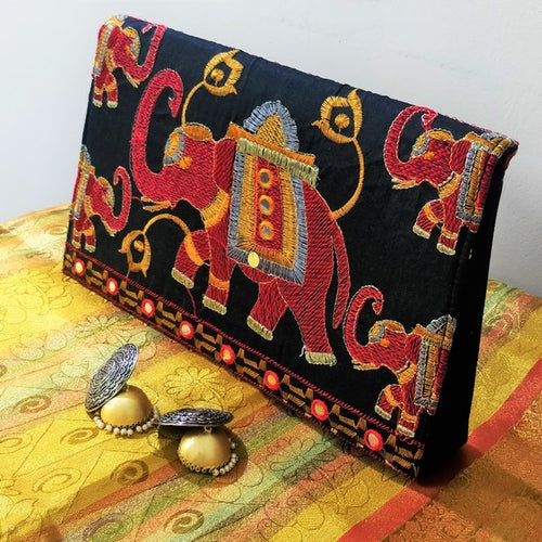 Haathi Silk Clutch - Red
