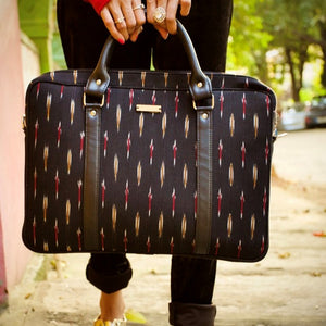 Chanchal Black Vegan Ikat Laptop bag Handcrafted premium