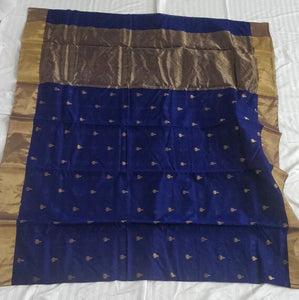 Blue Chanderi Silk Cotton Saree with Zari Buta